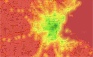 Transit Score Heat Map of Boston.