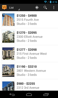 View of available rentals in a list on the Walk Score rentals app for Android