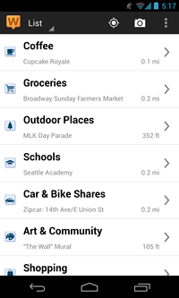 List of nearby amenities for a location on the Android app