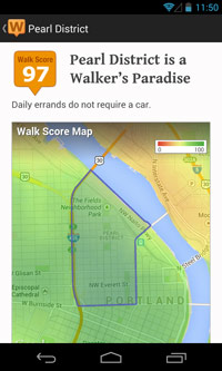 Walk Score and nearby amenities for a location