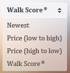 Drop down menu that uses Walk Score as a real estate search criteria