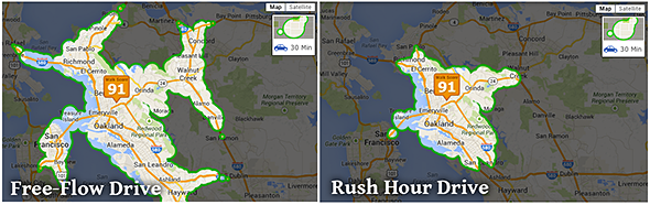 screenshot of free-flow vs. rush hour drive time