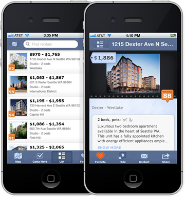 mobile iPhone screenshot of Walk Score apartment listings