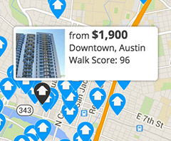 featured listing on apartment search map