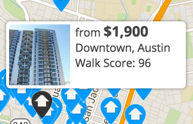 multiple apartment listings can be automatically included on Walk Score Apartment Search